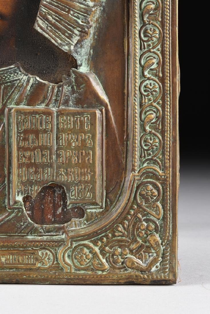 AN ANTIQUE RUSSIAN ICON WITH BRASS OKLAD OIL ON BOARD - 5