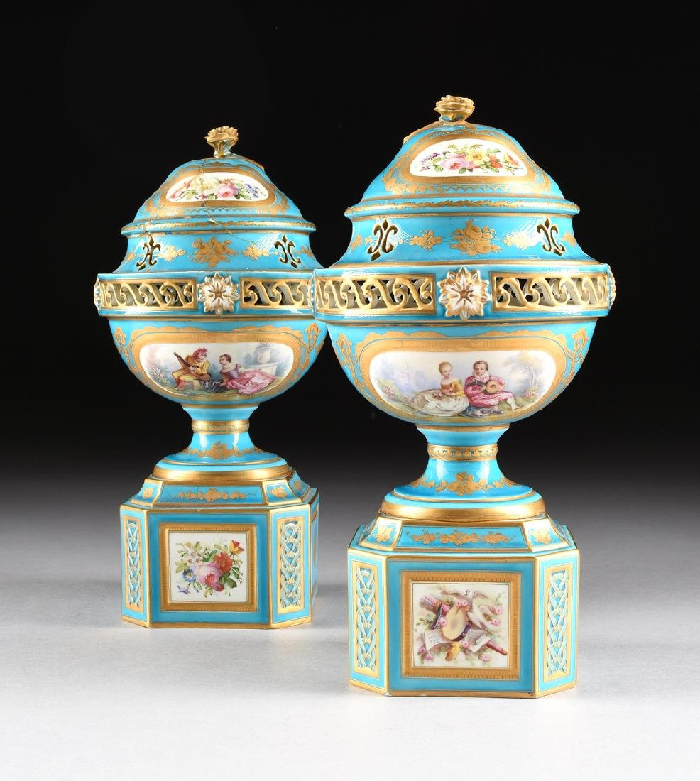 A PAIR OF SEVRES-STYLE BLEU CELESTE GROUND COVERED