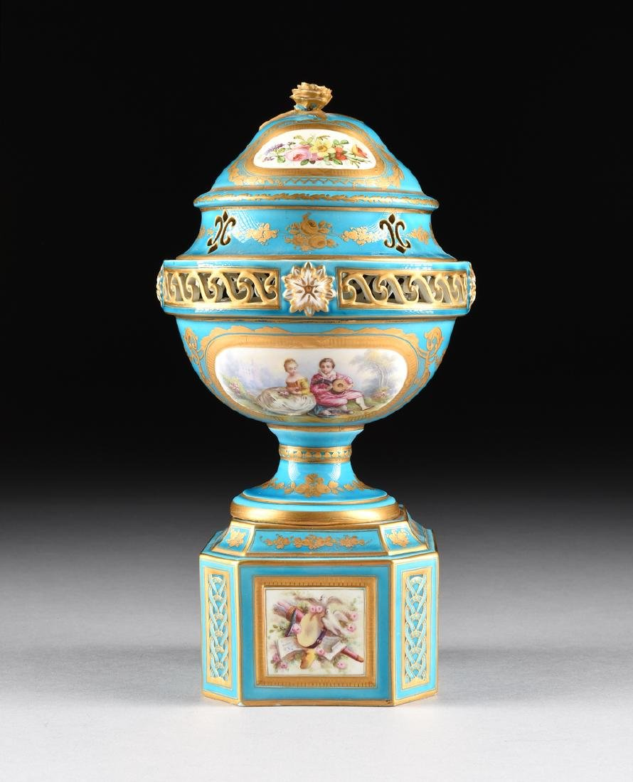 A PAIR OF SEVRES-STYLE BLEU CELESTE GROUND COVERED - 2