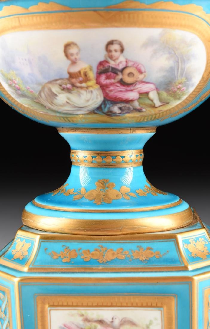 A PAIR OF SEVRES-STYLE BLEU CELESTE GROUND COVERED - 5