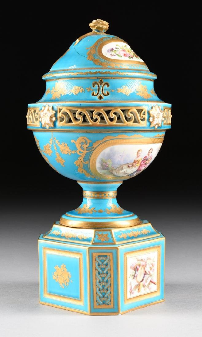A PAIR OF SEVRES-STYLE BLEU CELESTE GROUND COVERED - 7