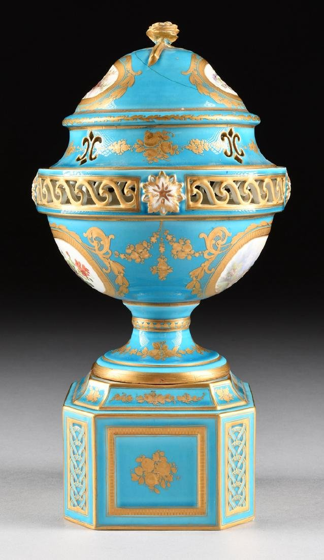 A PAIR OF SEVRES-STYLE BLEU CELESTE GROUND COVERED - 8