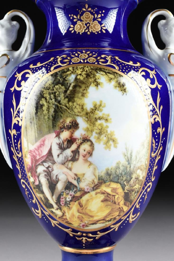 A PAIR OF NEOCLASSICAL STYLE LIMOGES PORCELAIN VASES - 4