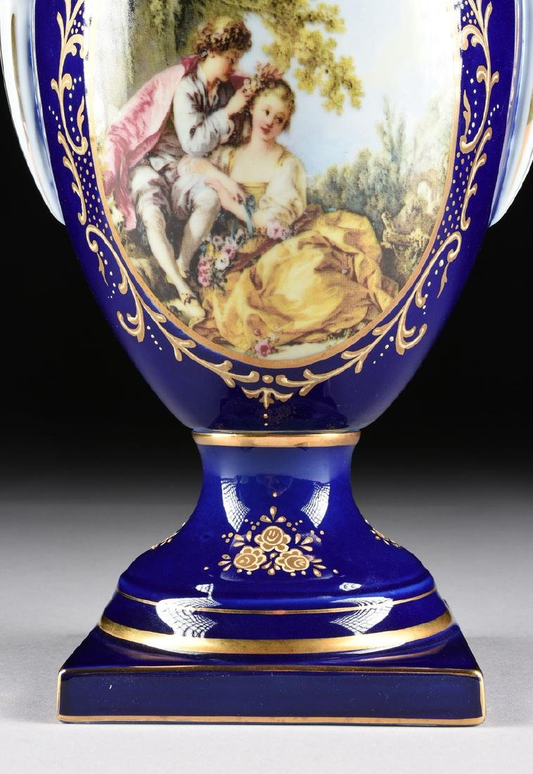 A PAIR OF NEOCLASSICAL STYLE LIMOGES PORCELAIN VASES - 5