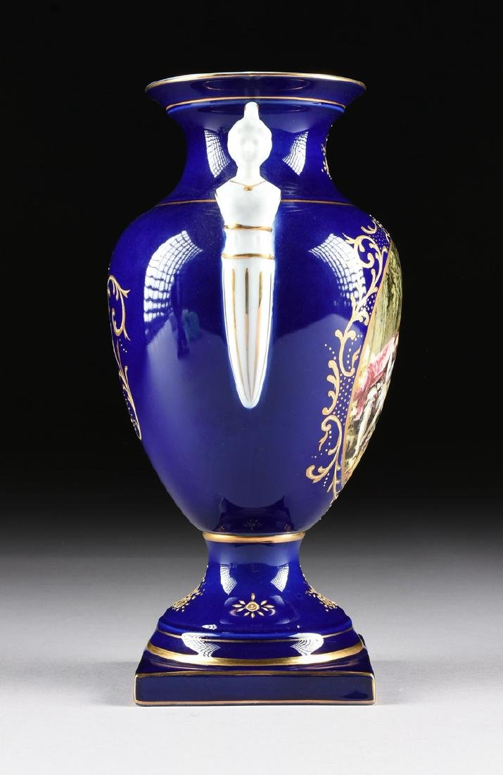 A PAIR OF NEOCLASSICAL STYLE LIMOGES PORCELAIN VASES - 7
