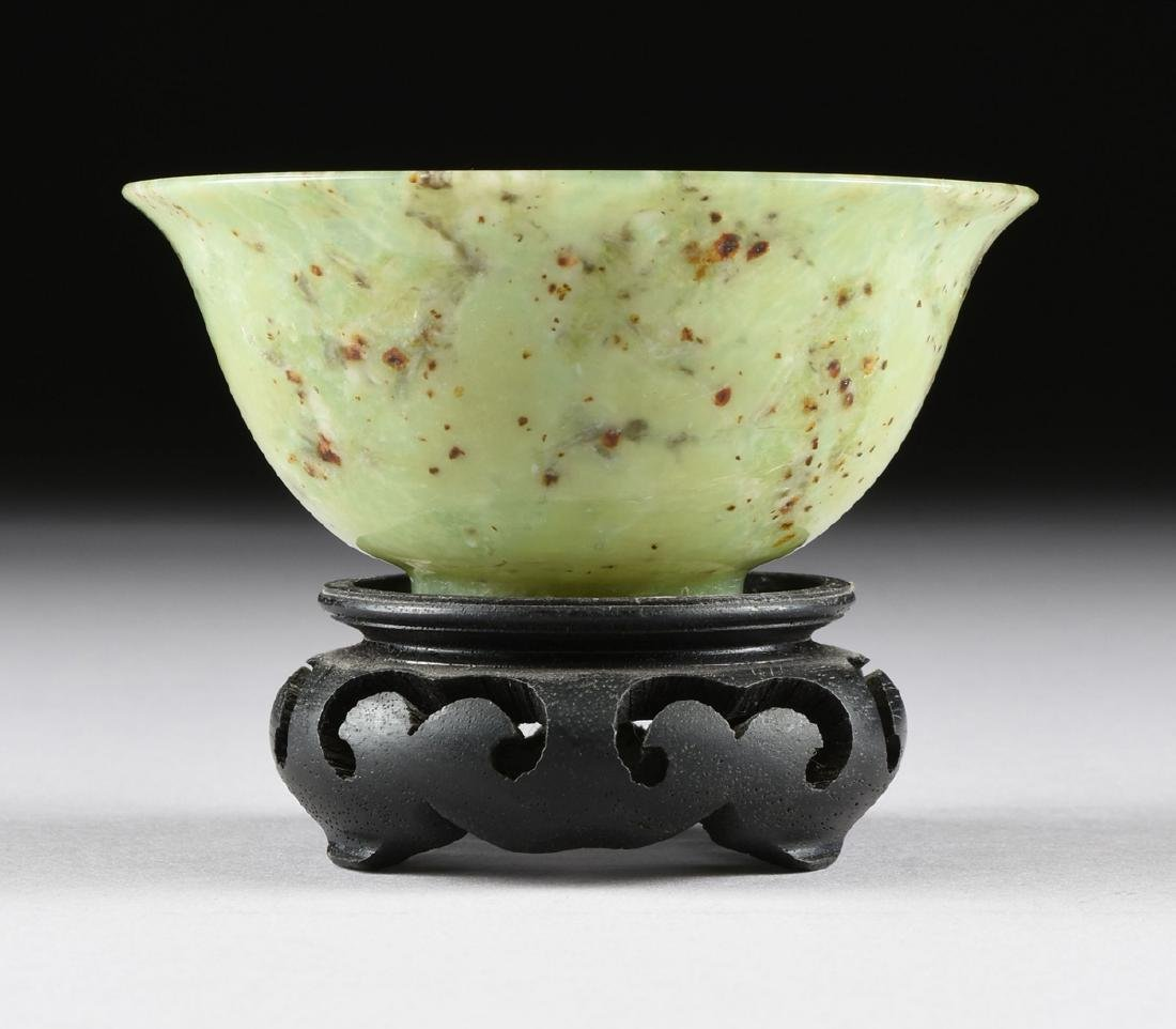 A PAIR OF CHINESE TRANSLUCENT MOTTLED GREEN JADE BOWLS, - 2