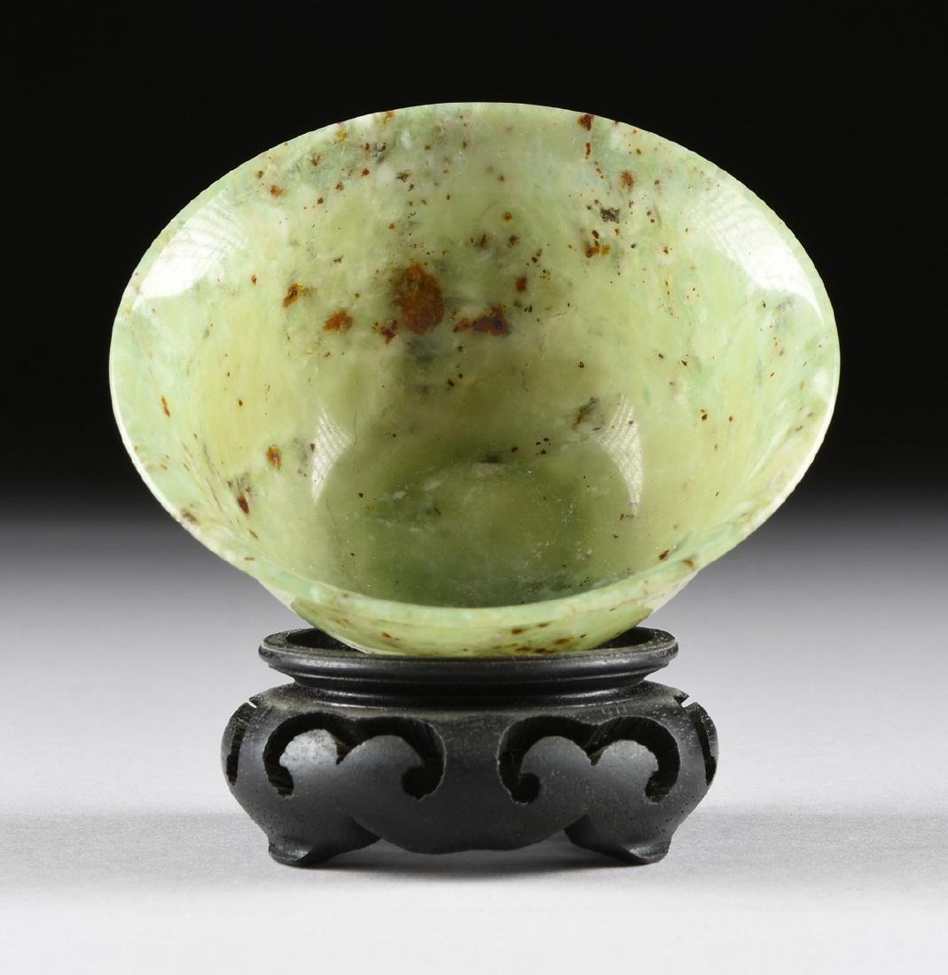 A PAIR OF CHINESE TRANSLUCENT MOTTLED GREEN JADE BOWLS, - 4