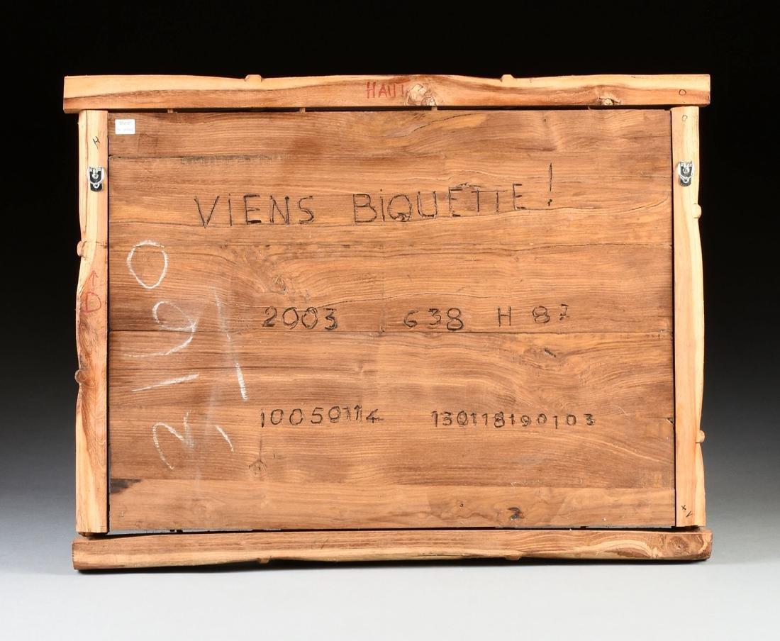 A FRENCH PRIMITIVE FOLK ART CARVED WOOD PANEL, 21ST - 9