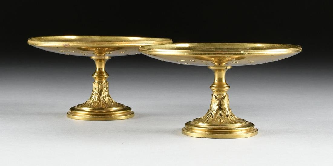 A PAIR OF CAST BRASS MEDALLION PLATE STANDS, PROBABLY - 2