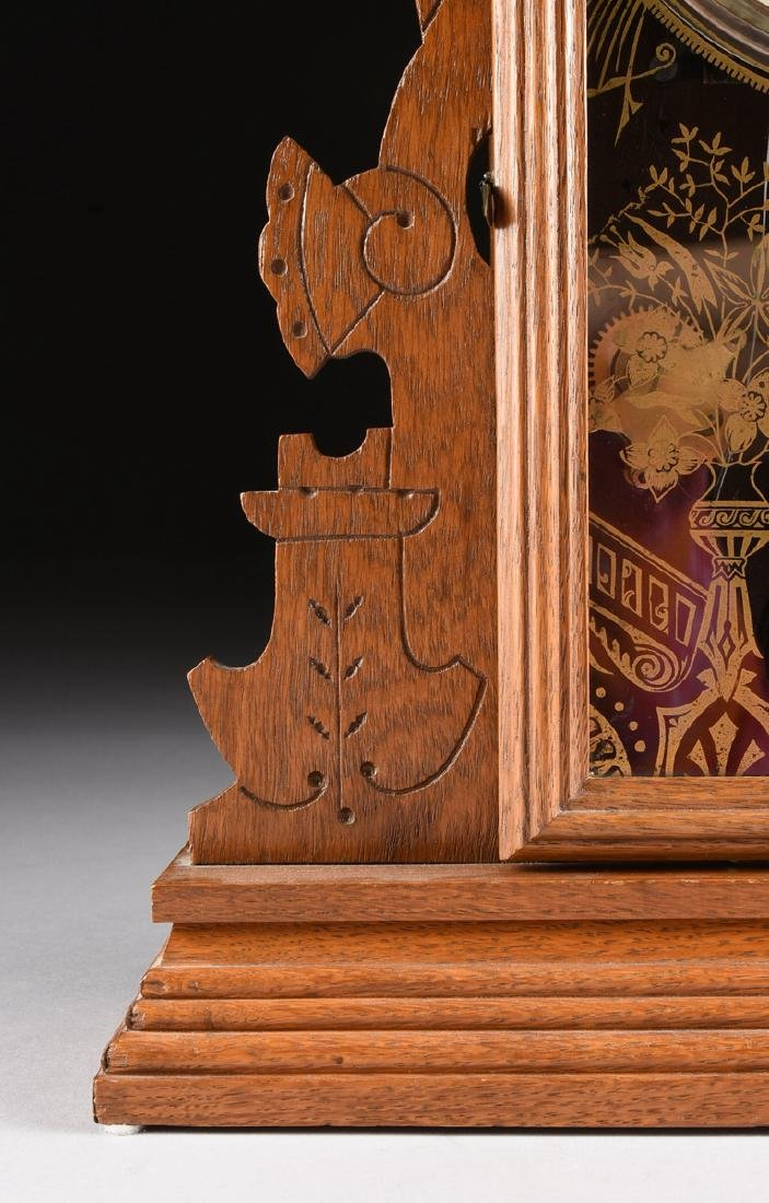 AN ANSONIA CLOCK COMPANY EIGHT DAY CARVED OAK MANTLE - 6