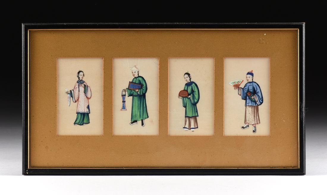 FOUR CHINESE FIGURES, A PAINTING, LATE 19TH/20TH