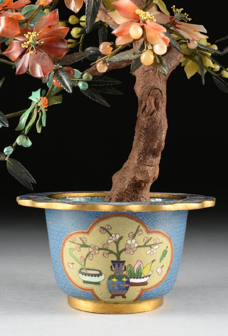 A CHINESE HARD STONE BOTANICAL STUDY IN A CLOISONNE - 5