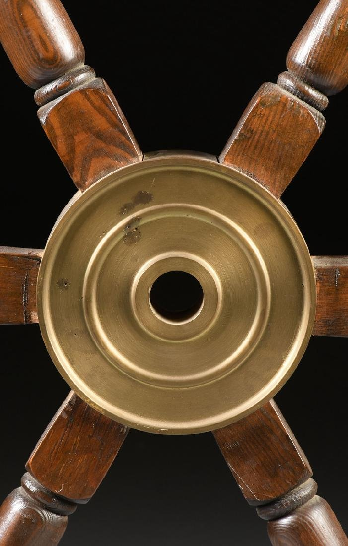 A CARVED PINE WOODEN SHIP'S WHEEL, 20TH CENTURY, - 2