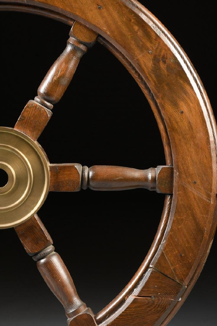 A CARVED PINE WOODEN SHIP'S WHEEL, 20TH CENTURY, - 4