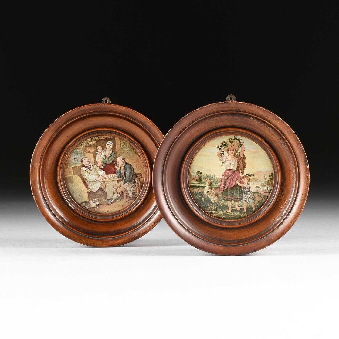 A GROUP OF TWO FRAMED VICTORIAN PRINTED CERAMIC PRATT