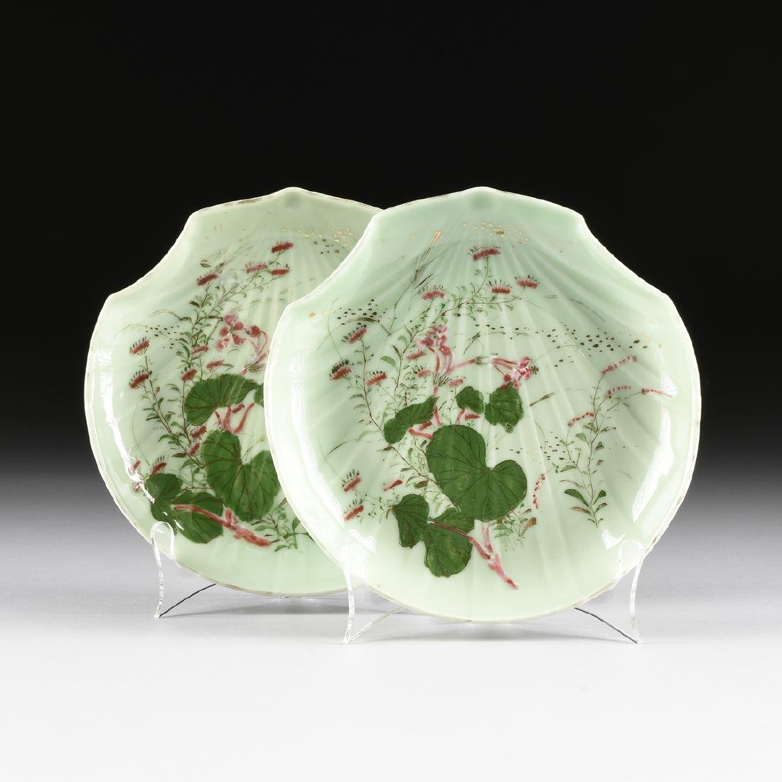 A PAIR OF CHINESE FAMILLE ROSE PAINTED CELADON GLAZED