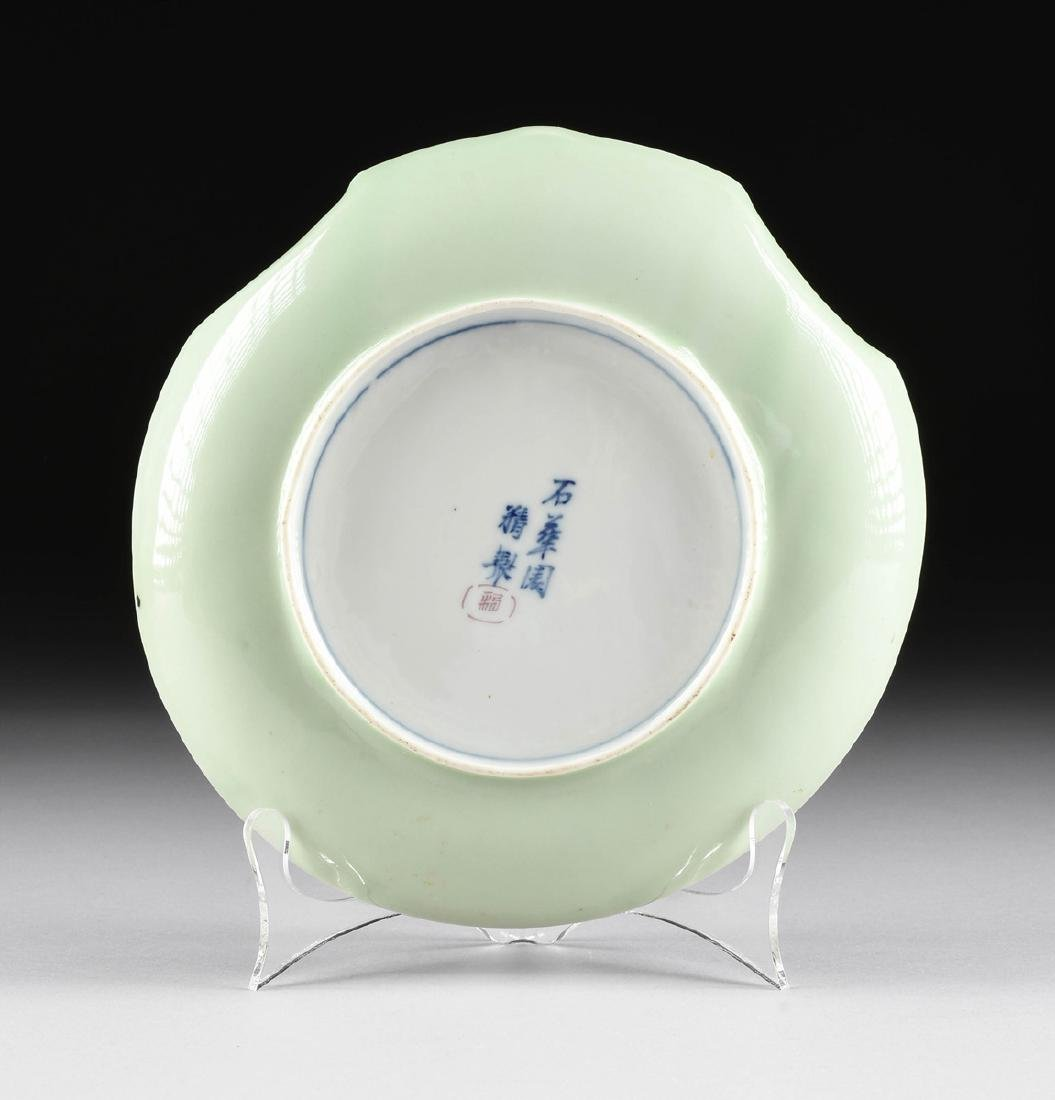 A PAIR OF CHINESE FAMILLE ROSE PAINTED CELADON GLAZED - 7