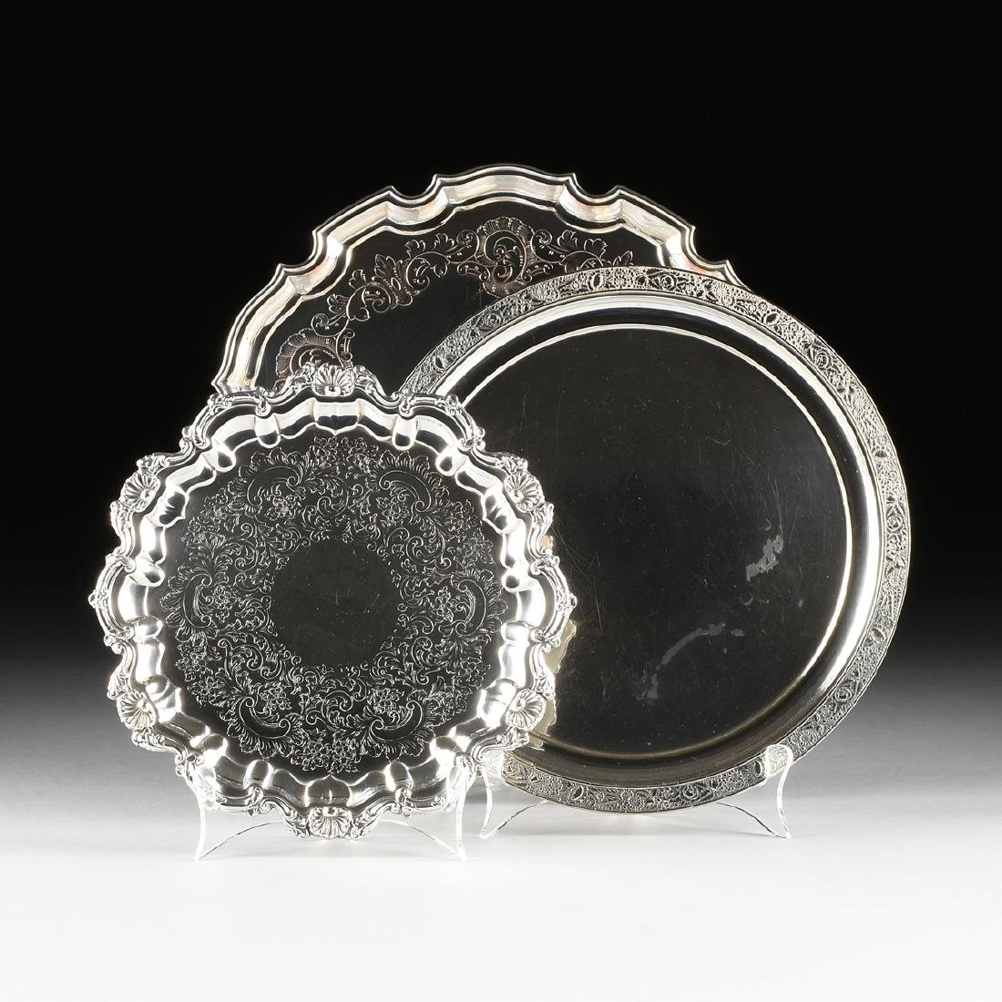 A GROUP OF THREE SILVER PLATED SERVING TRAYS, AMERICAN