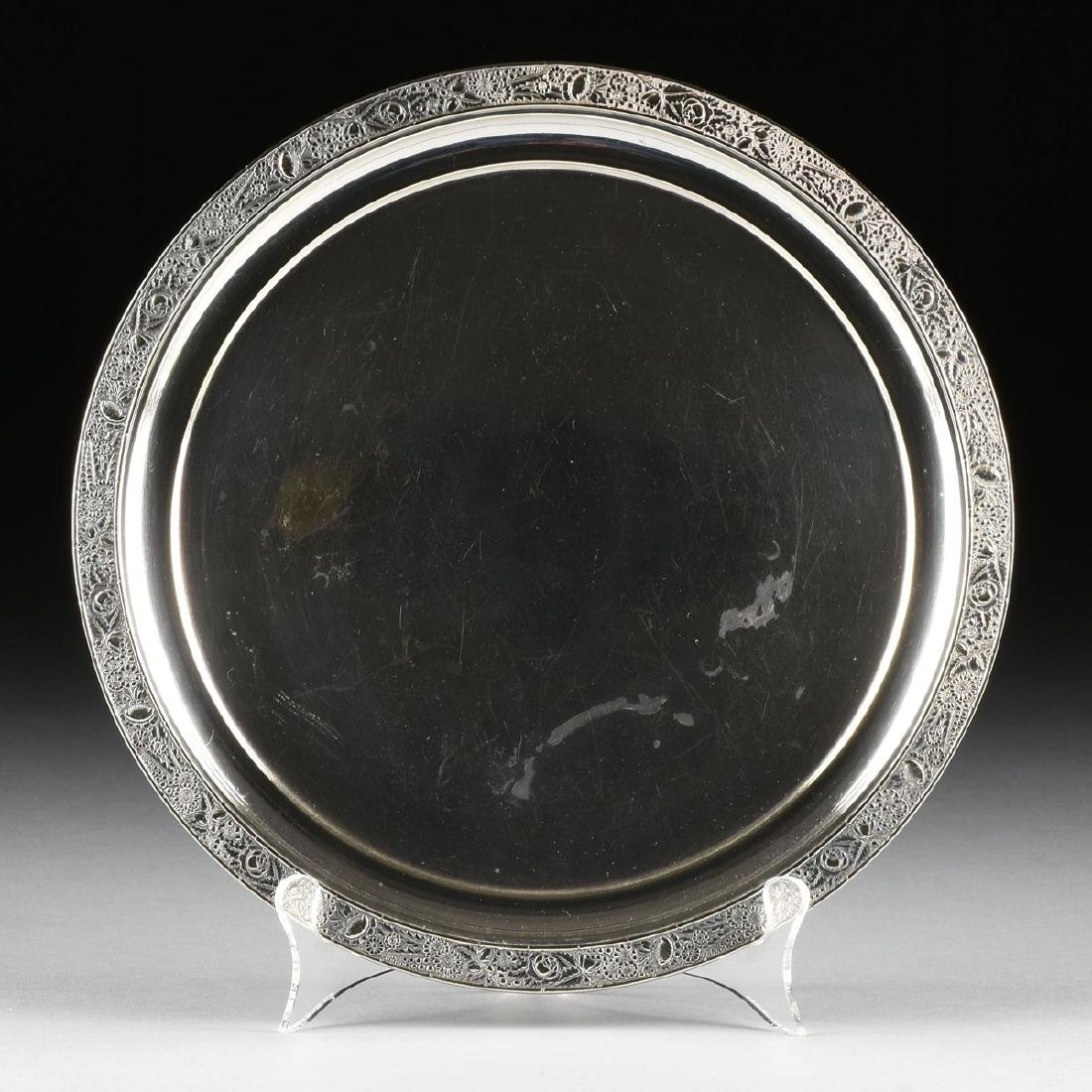 A GROUP OF THREE SILVER PLATED SERVING TRAYS, AMERICAN - 6