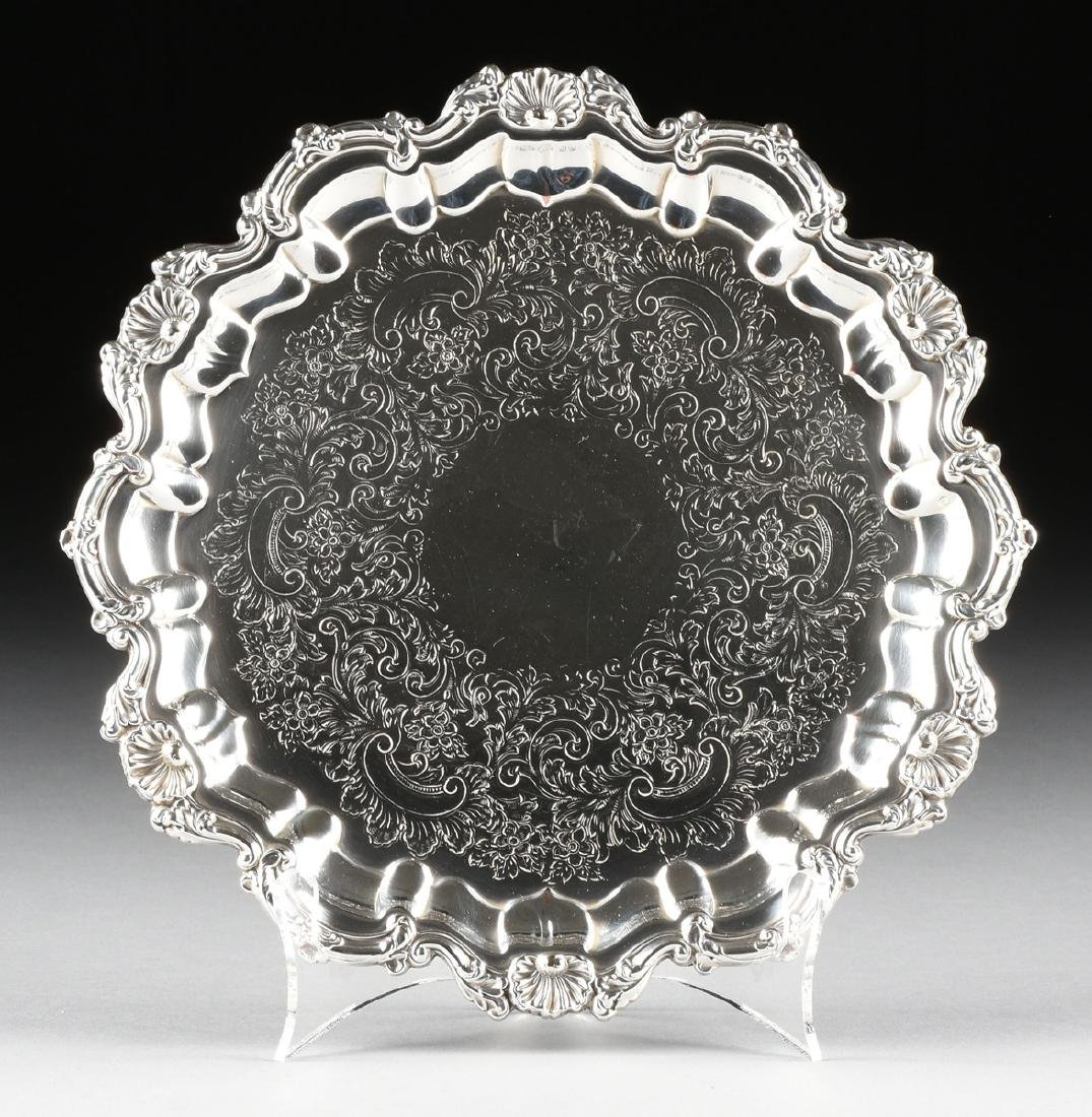 A GROUP OF THREE SILVER PLATED SERVING TRAYS, AMERICAN - 9