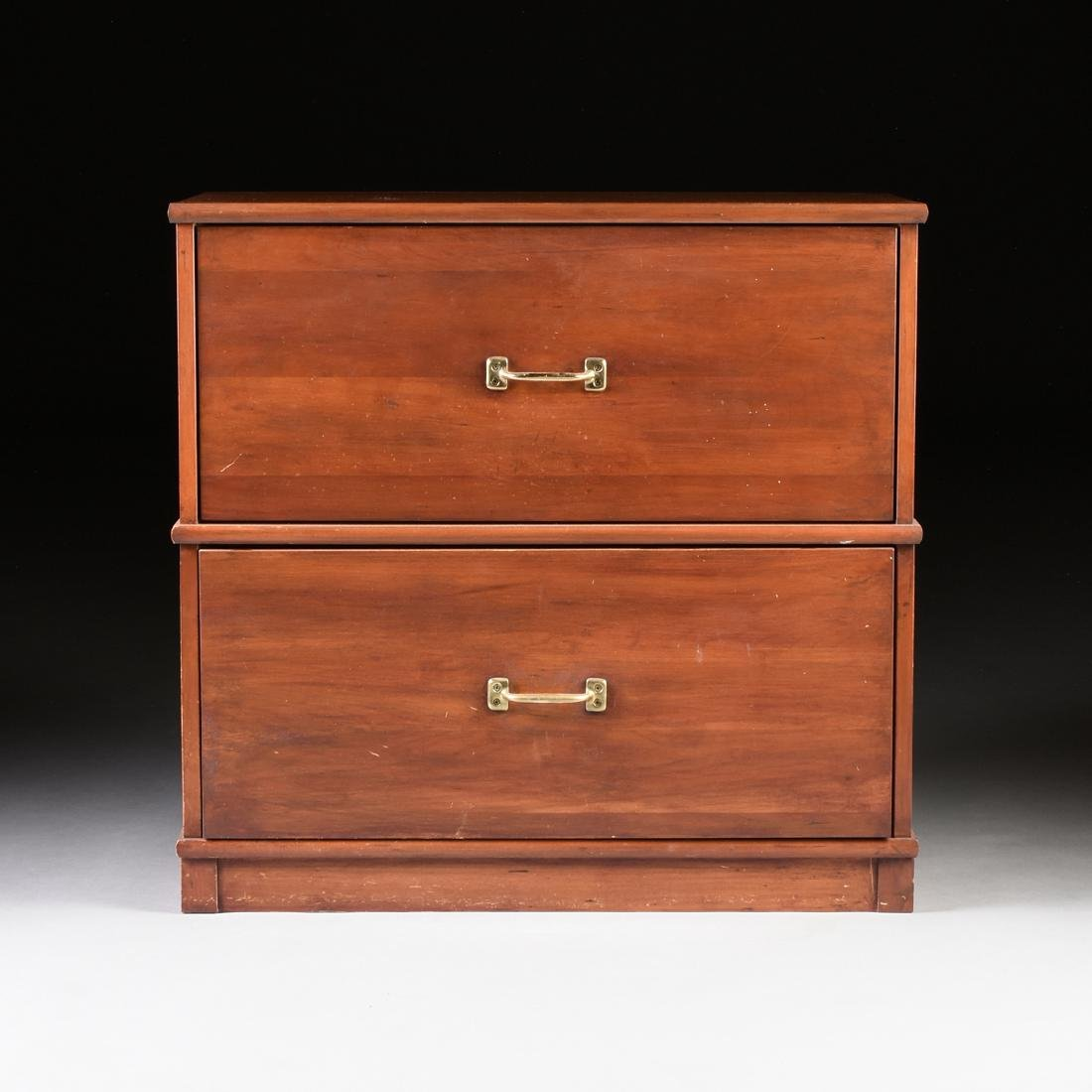A LE VENGER MAHOGANY HORIZONTAL FILE CABINET WITH BRASS
