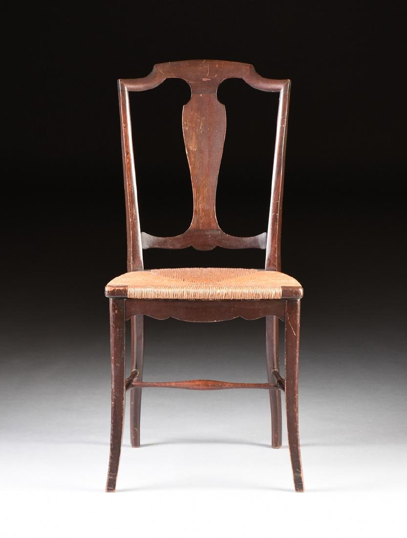 A COUNTRY HEPPLEWHITE STYLE CARVED MAHOGANY RUSH SEAT