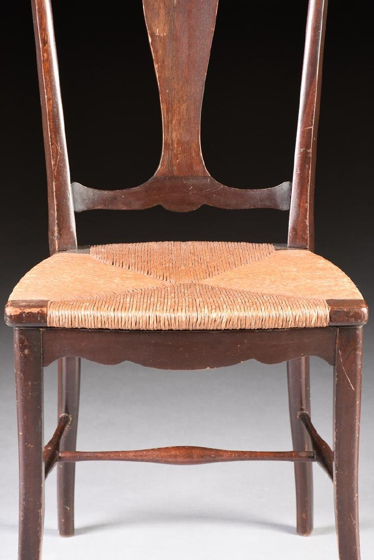 A COUNTRY HEPPLEWHITE STYLE CARVED MAHOGANY RUSH SEAT - 3