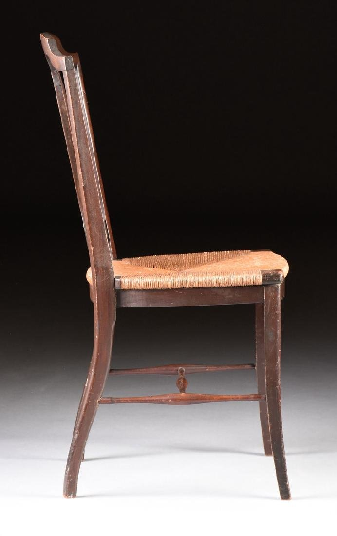A COUNTRY HEPPLEWHITE STYLE CARVED MAHOGANY RUSH SEAT - 4