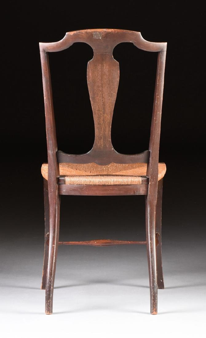 A COUNTRY HEPPLEWHITE STYLE CARVED MAHOGANY RUSH SEAT - 5