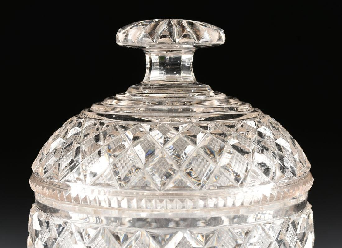 AN ANGLO-IRISH PRESSED CLEAR CRYSTAL SUGAR URN WITH - 2