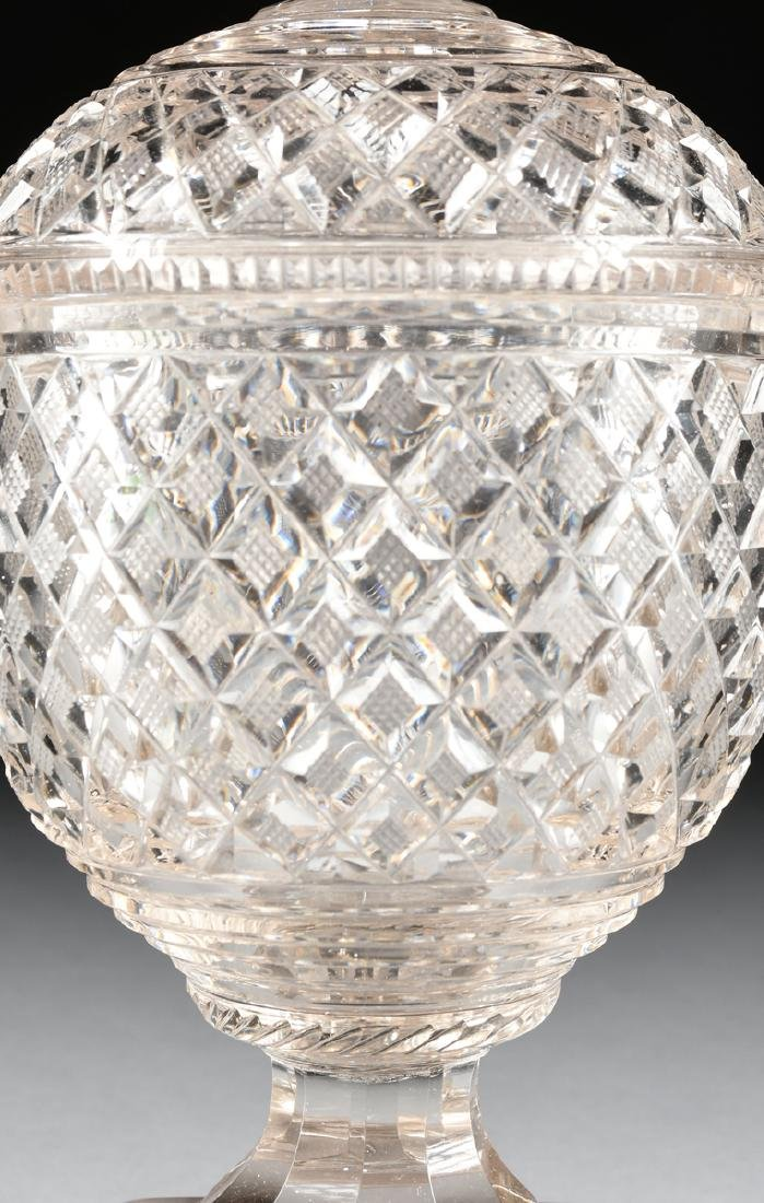 AN ANGLO-IRISH PRESSED CLEAR CRYSTAL SUGAR URN WITH - 3