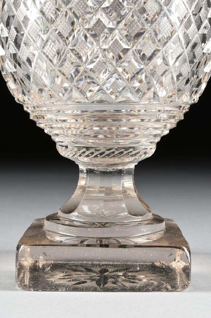 AN ANGLO-IRISH PRESSED CLEAR CRYSTAL SUGAR URN WITH - 4