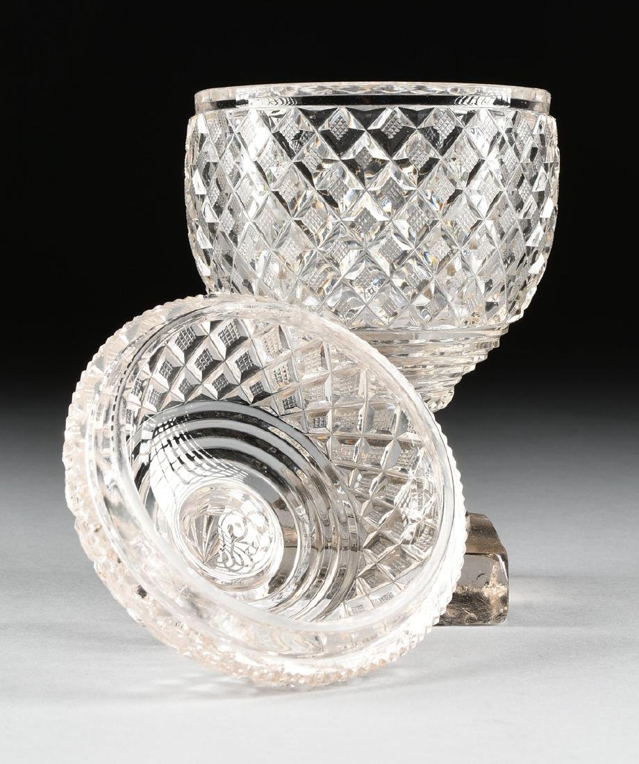 AN ANGLO-IRISH PRESSED CLEAR CRYSTAL SUGAR URN WITH - 5