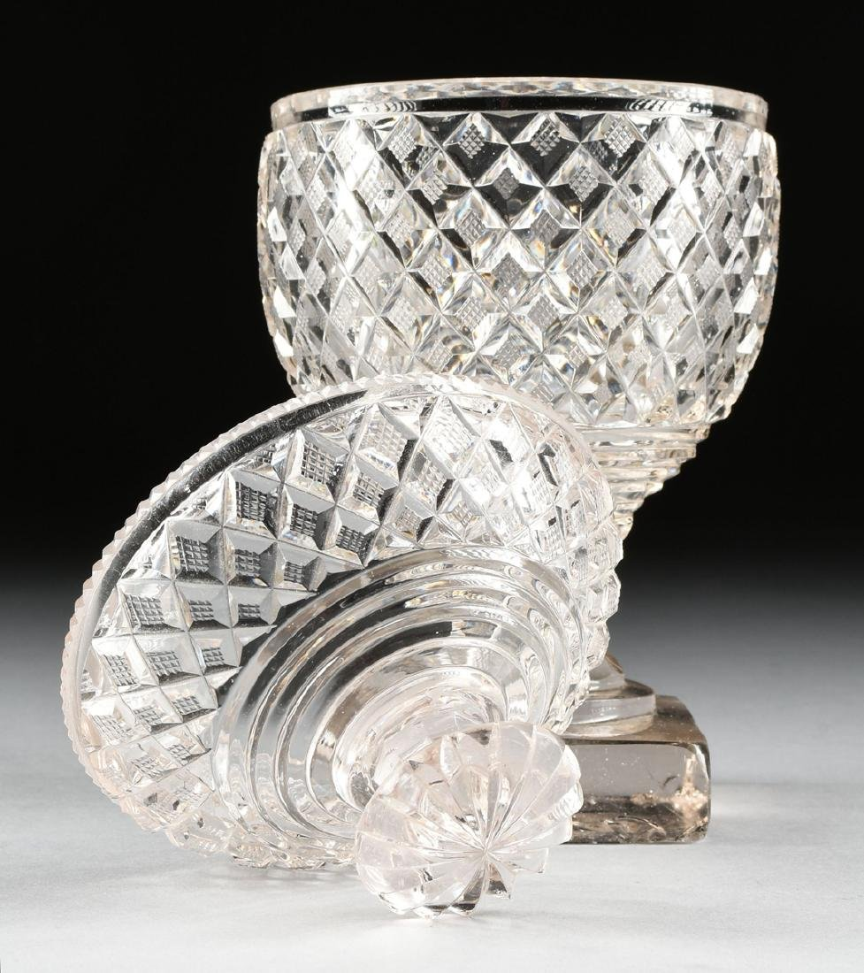 AN ANGLO-IRISH PRESSED CLEAR CRYSTAL SUGAR URN WITH - 6