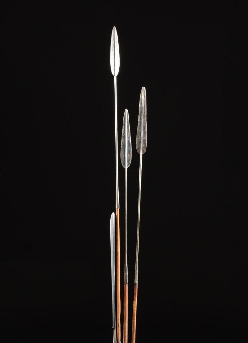 A GROUP OF FOUR EAST AFRICAN TRIBAL SPEARS, POSSIBLY