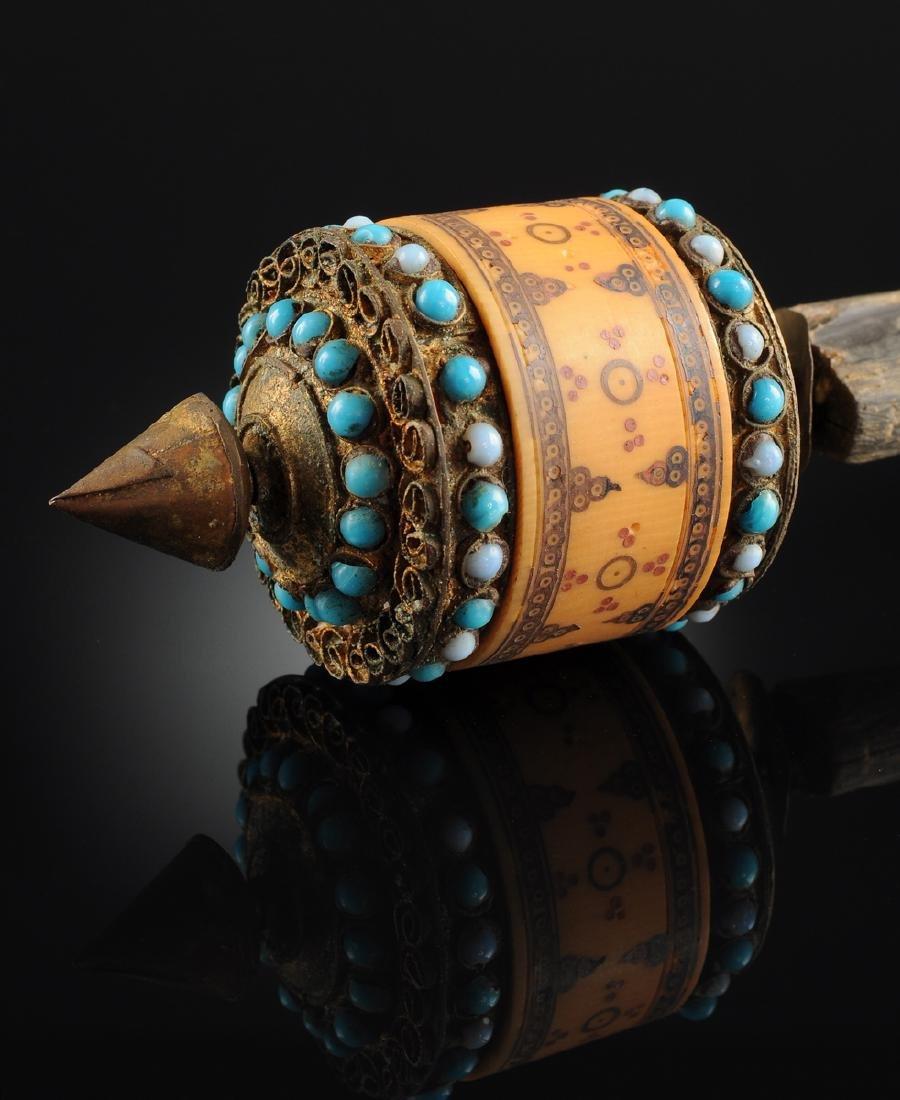 A TIBETAN BLUE GLASS BEAD MOUNTED GILT TIN AND CARVED - 5