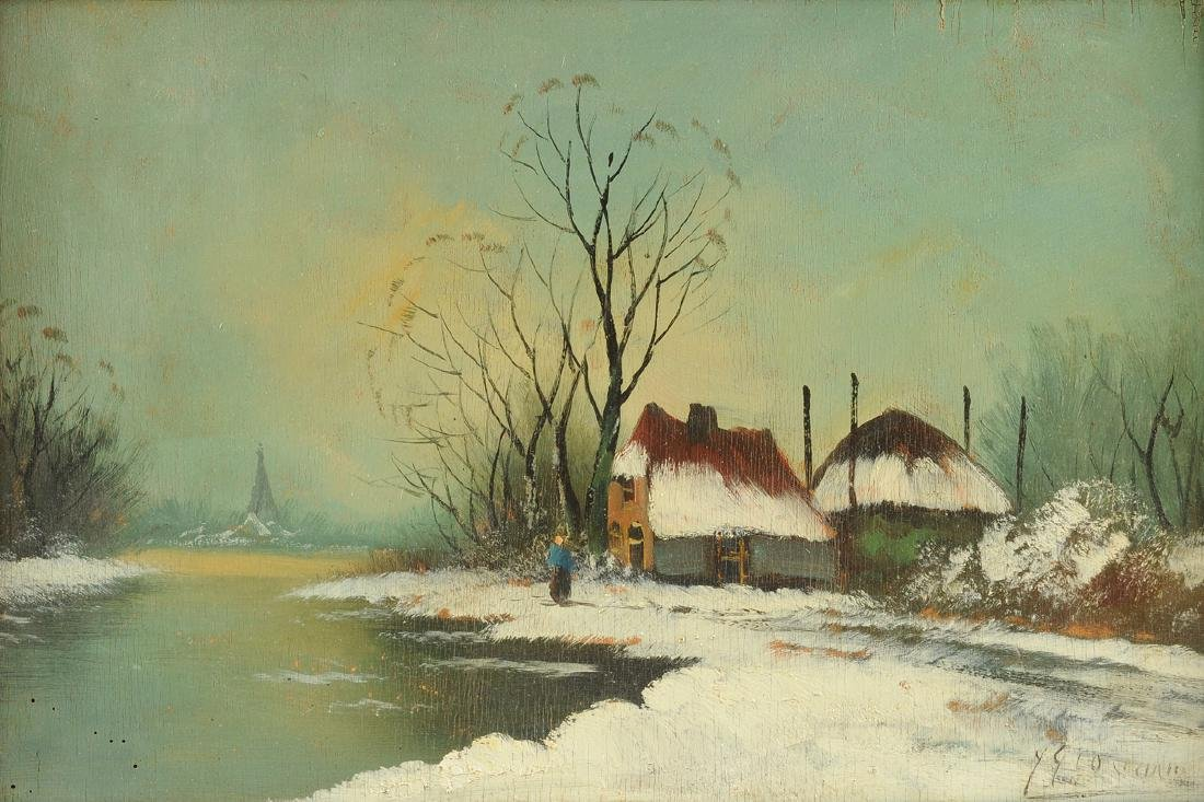 """Y GIOVANNE, A PAINTING, """"Winter Scene,"""""""