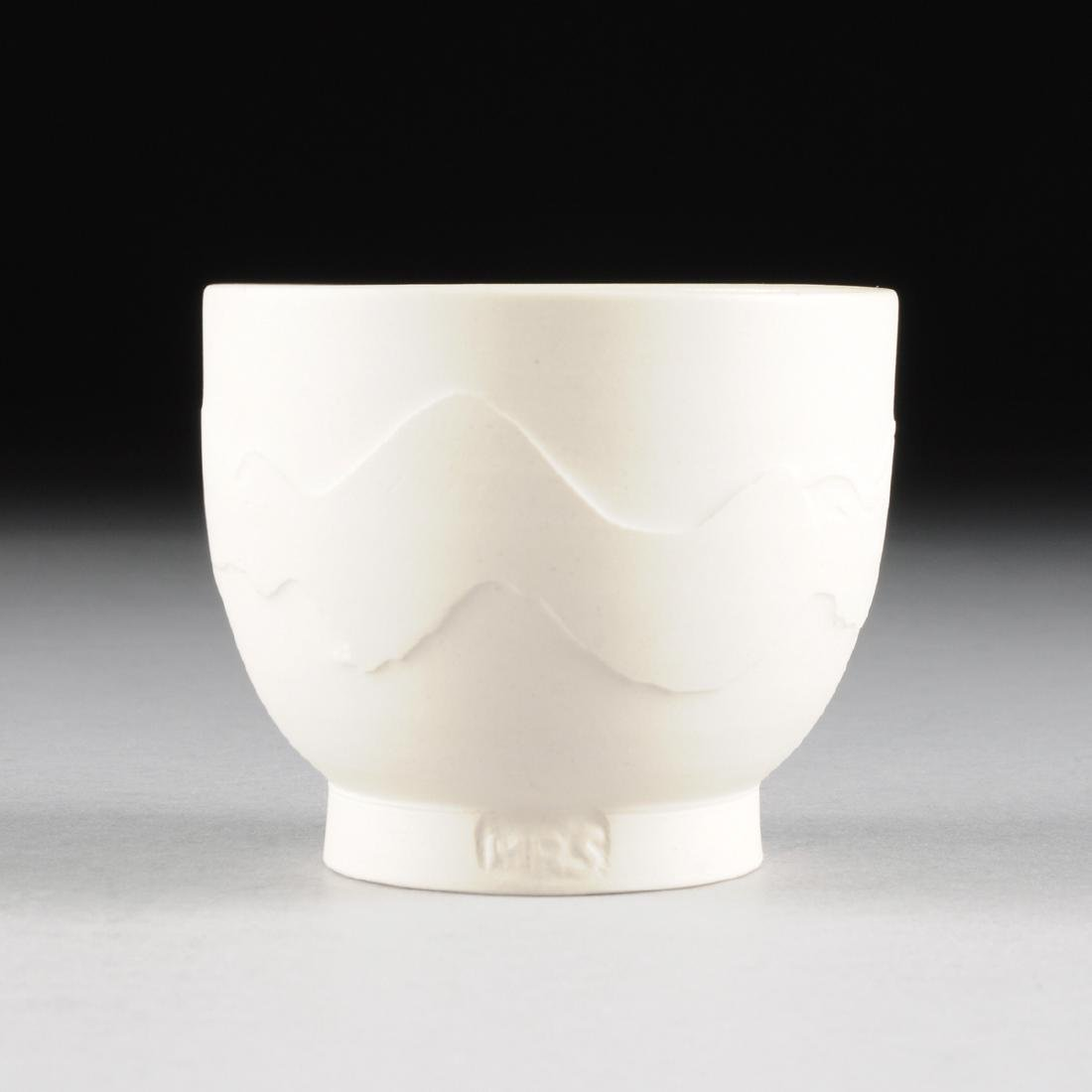 A MODERNIST CARVED WHITE TERRACOTTA BOWL, CIRCULAR