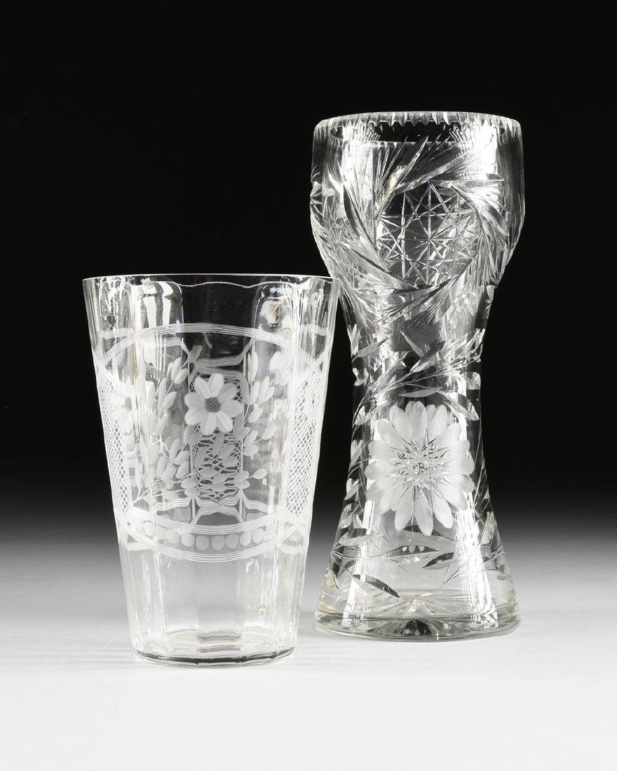 TWO CUT AND ETCHED GLASS VASES, 20TH CENTURY,