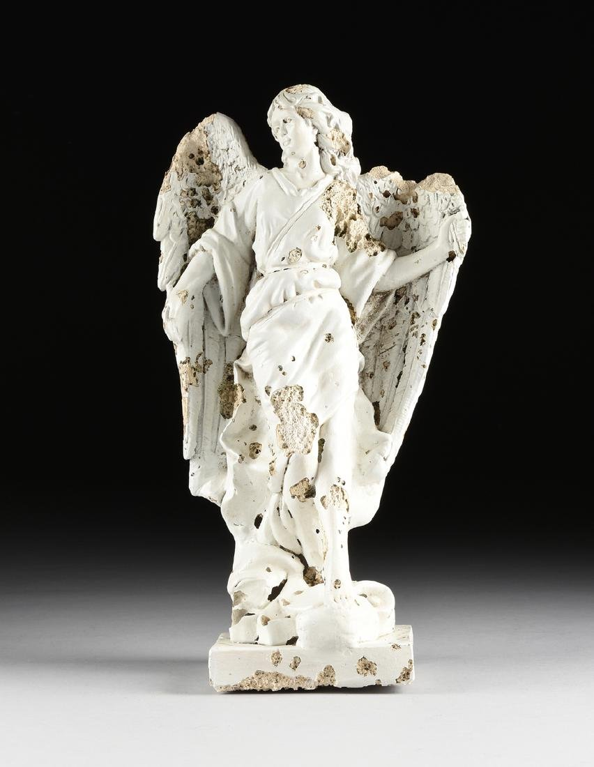 A MEXICAN WHITE PAINTED MOLDED PLASTER STATUE OF AN
