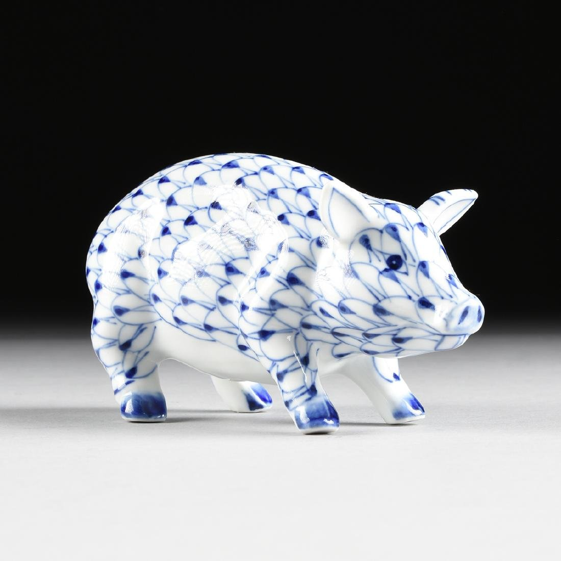 AN ANDREA BY SADEK GLAZED PORCELAIN FIGURE OF A PIG,