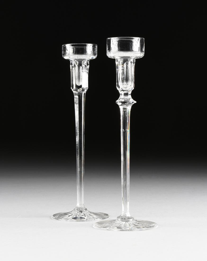 A PAIR OF ROGASKA CRYSTAL CANDLE HOLDERS, SLOVENIA,