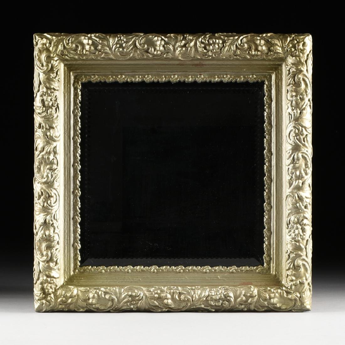 A LOUIS XVI STYLE SILVERED FRAME BEVELED MIRROR,
