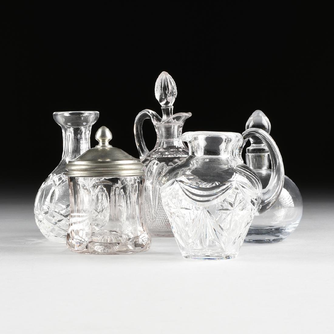 A GROUP OF FIVE CLEAR CRYSTAL TABLE WARES, LATE 20TH