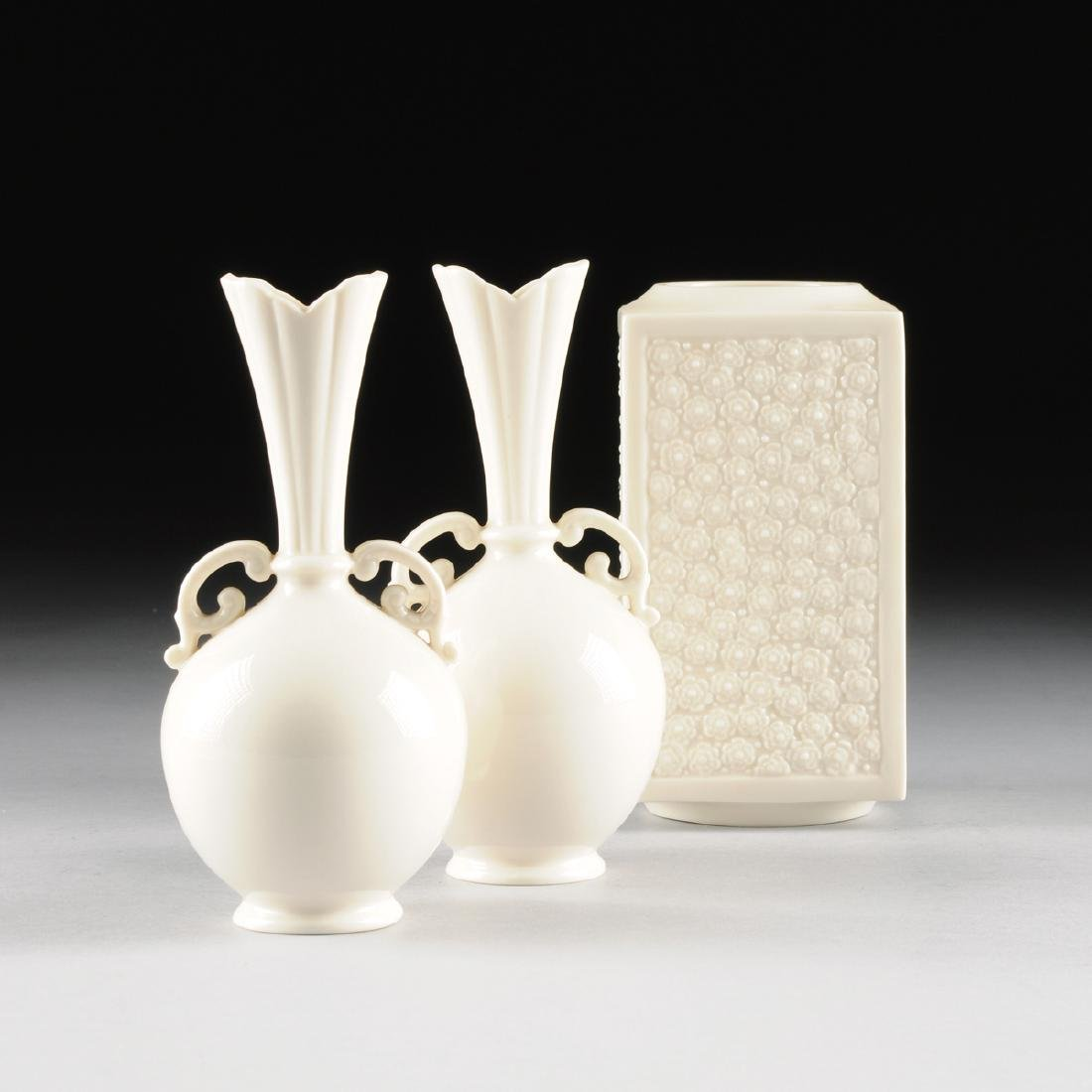 Pair of lenox creamware porcelain vases and a lenox a pair of lenox creamware porcelain vases and a lenox floridaeventfo Image collections
