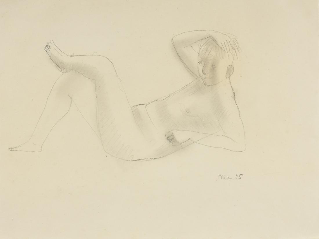 "GERHARD MARCKS (German 1889-1981) A DRAWING, ""Reclining"