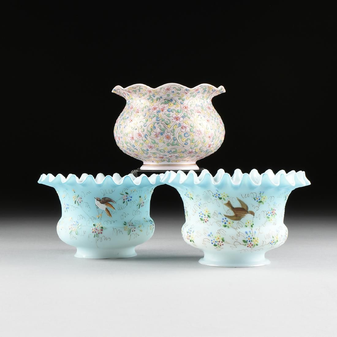 A GROUP OF THREE LATE VICTORIAN ENAMELED GLASS PARLOR
