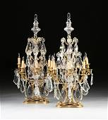 A PAIR OF MONUMENTAL LOUIS XV STYLE FIVE LIGHT GILT