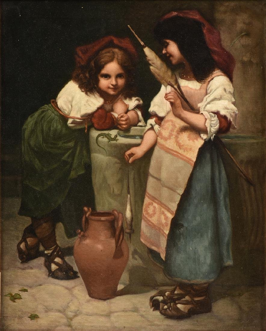 """EUROPEAN SCHOOL (19th Century) A PAINTING, """"Girls at"""