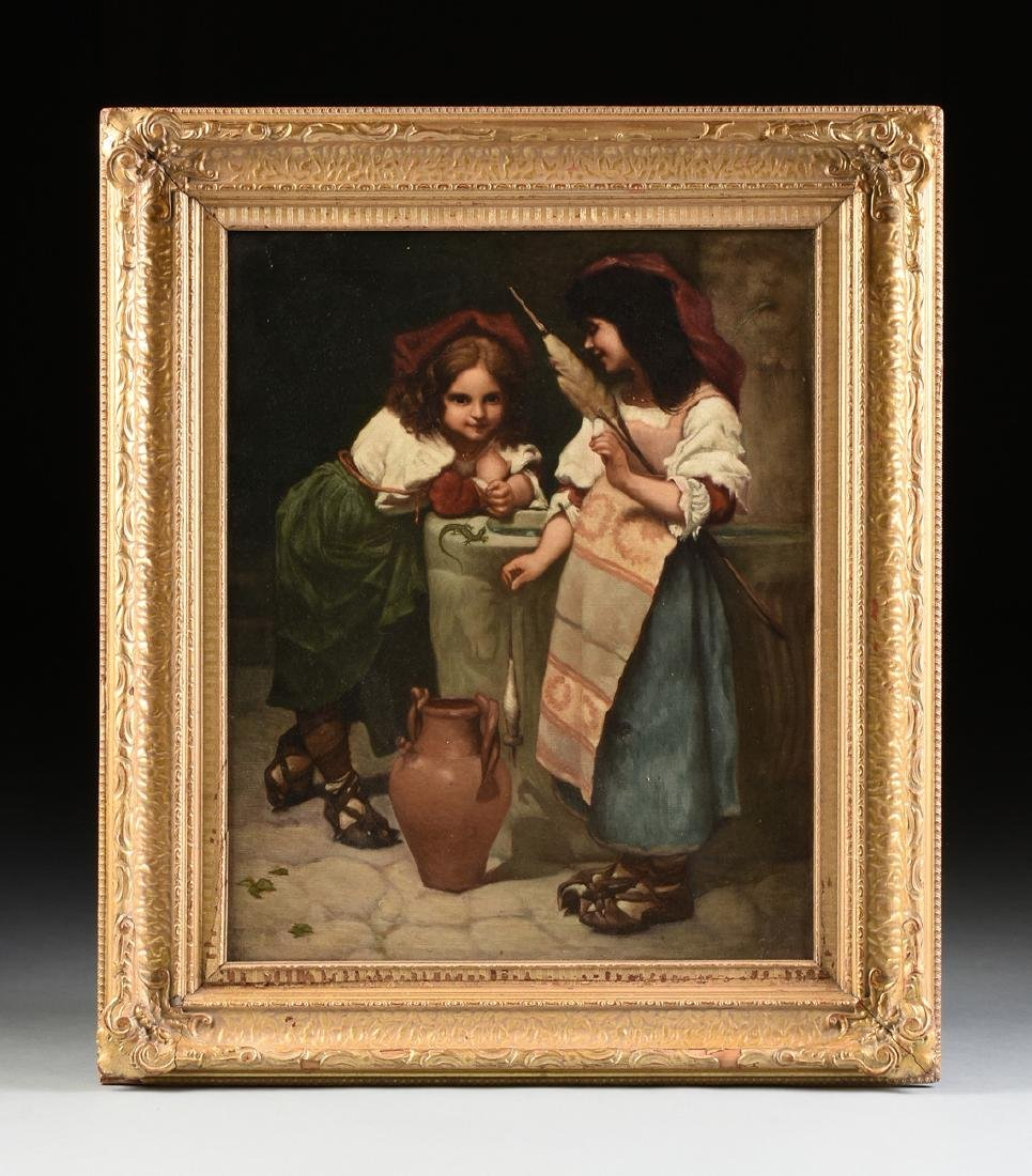 "EUROPEAN SCHOOL (19th Century) A PAINTING, ""Girls at - 2"
